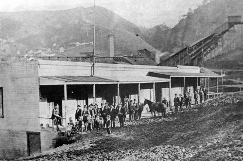 A scene from the Black Diamond Coal Company mine in Nortonville, California, circa 1880s. It was located about 35 miles east of San Francisco, near Pittsburg and Antioch.