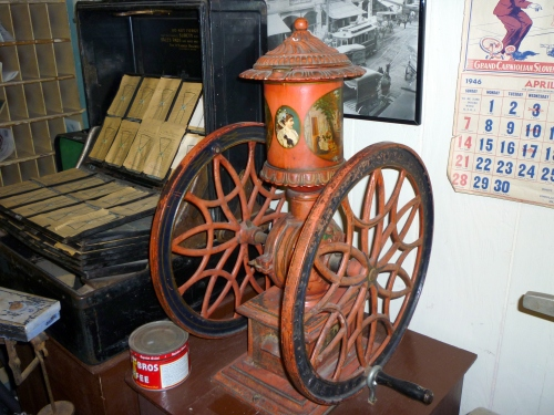 Coffee grinder, ca. 1900, from the Black Diamond company store. The grinder is on display on the lower level of the museum.