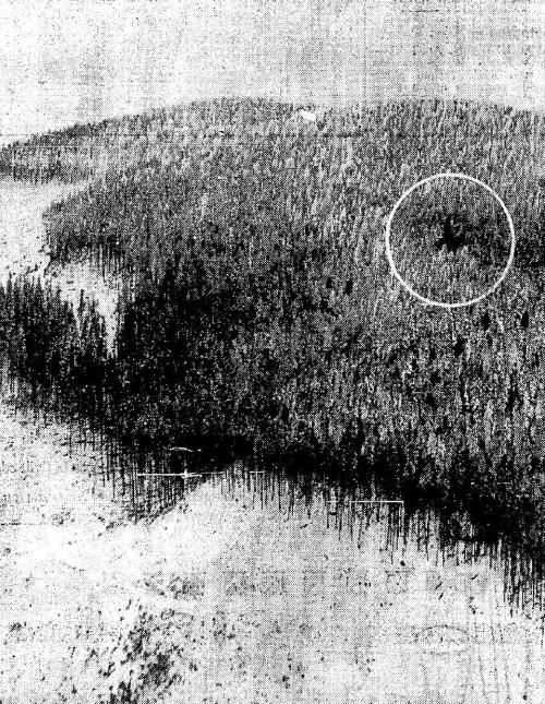 Crash site: A black mark (circled) in the now-covered timber, shaped like an arrowhead, showed aerial searchers where the Seattle-bound transport plunged into the hillside at 3,500 feet. Rimming the crash scene, a few hundred yards below, was a broad, white area where the timber had been logged off. The site is ten miles east of Selleck.