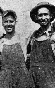"""It doesn't require sunshine to make things bright around the bunkers at Black Diamond. If you doubt this statement just take the time to get acquainted with the two men whose likenesses appear above. On the left is E.M. Rocky, with the Teddy Roosevelt grin. At his right is C. Head, better known as """"Alabam."""" He's not mad either."""