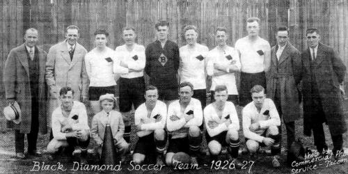 This photo of the 1926–27 Black Diamond soccer team comes courtesy of Jerry and Lynda English.